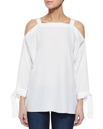 Cold-Shoulder Silk Georgette Top, White