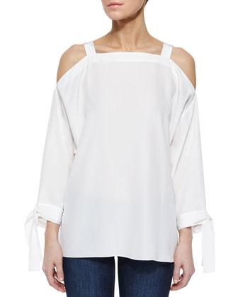Cold-Shoulder Silk Georgette Top, White