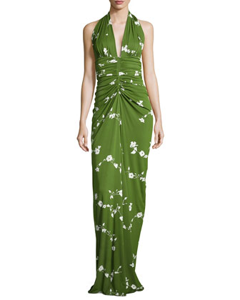 Floral-Vine Ruched Gown, Grass/Optic White
