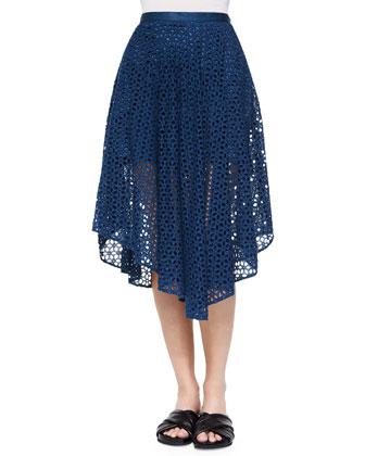 Hanae Eyelet Peaked Skirt, Aegean Blue