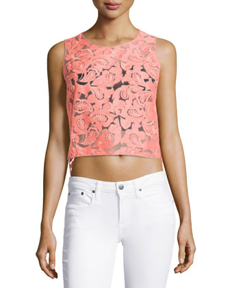 Embroidered Organza Sleeveless Top, Neon Pink