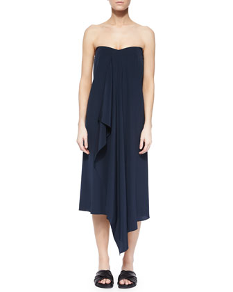 Strapless Drape-Front Dress, Navy/Black