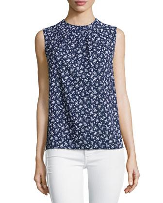 Floral-Print Sleeveless Top, Indigo/White