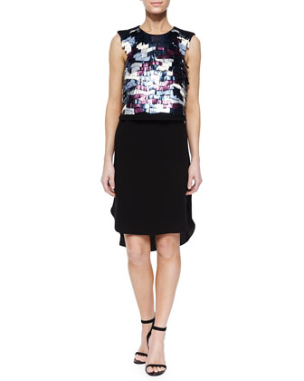 Baguette-Sequin Beading Dress, Black Multi