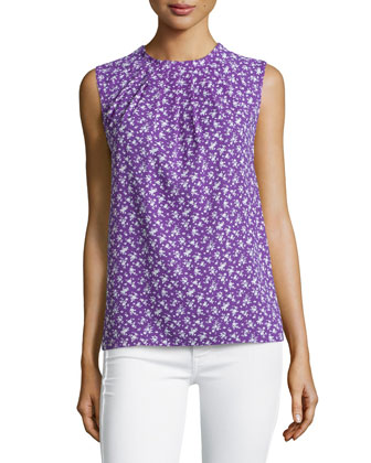 Floral-Print Sleeveless Top, Hyacinth/White