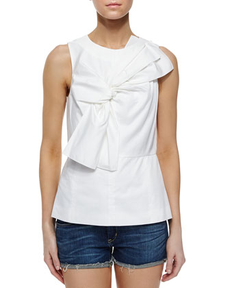 Satin Poplin Peplum Top, White