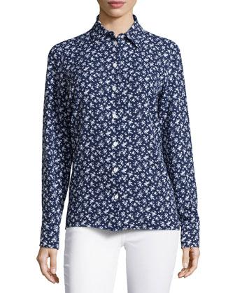 Floral-Print Slim Shirt, Indigo/White