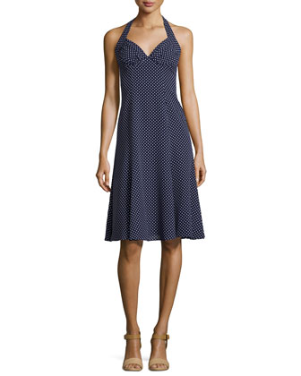 Dot-Print Halter-Neck Dress, Indigo/White