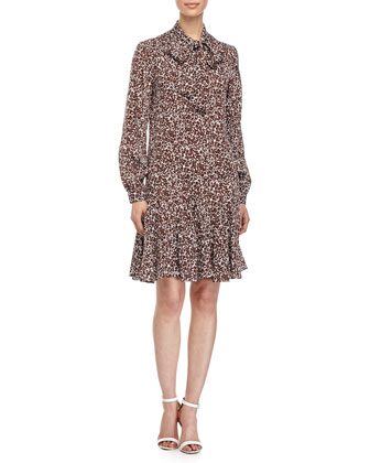 Mini Floral-Print Tie-Neck Dress, Optic White/Nutmeg