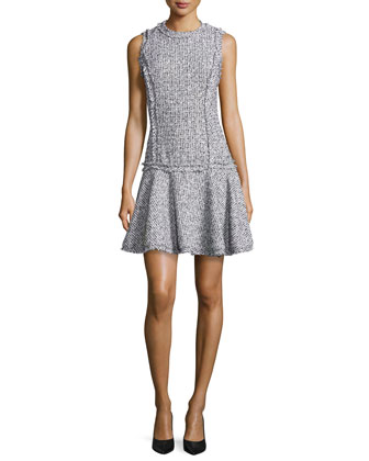 Summer Tweed Mini Sheath Dress, Optic White/Black