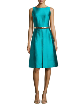 Sleeveless A-Line Dress with Belt, Aqua