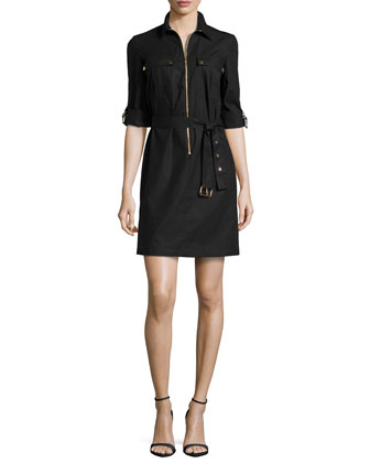 Zip-Front Shirtdress, Black