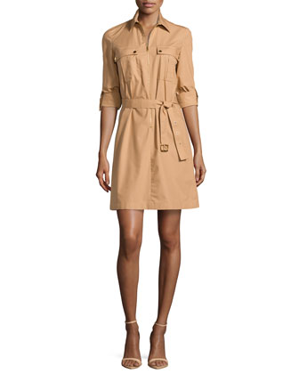 Zip-Front Shirtdress, Suntan