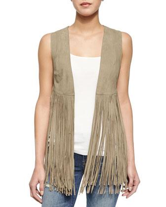 Sonia Leather Fringe Vest, Taupe