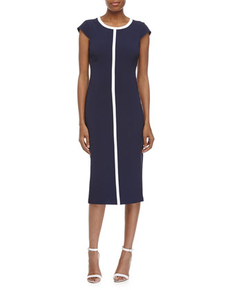 Cap Sleeve Two-Tone Sheath Dress, Indigo