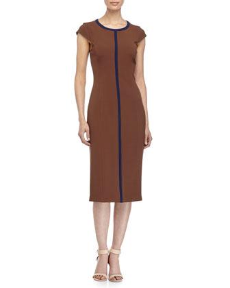 Cap-Sleeve Two-Tone Sheath Dress, Nutmeg