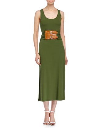Double-Buckle Tank Dress, Grass
