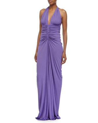 Sleeveless Ruched Gown, Hyacinth