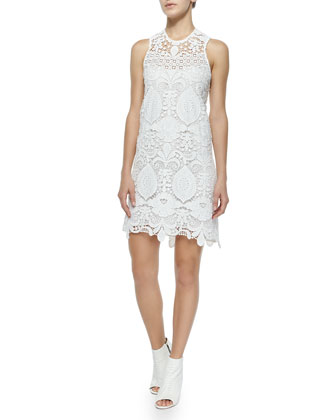 Lira Crochet Cross-Back Dress, White