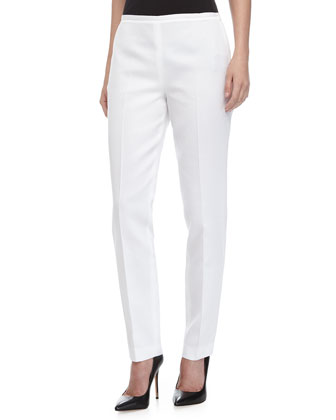 Pique Side-Zip Pants, Optic White