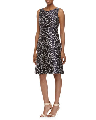 Floral-Print Center Pleat Dress, Indigo/White