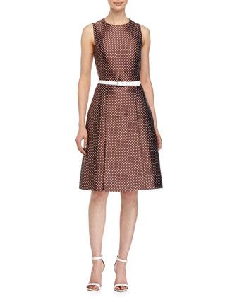 Mini-Dot Print Belted Dress, Nutmeg/White