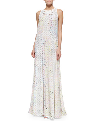 Andreja Mixed-Media Maxi Dress, Pastel Rouge