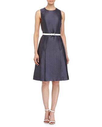 Mini-Dot Print Belted Dress, Indigo/White