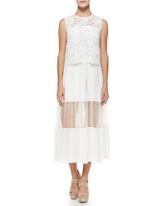 Pania Pleated Dress w/Lace Popover