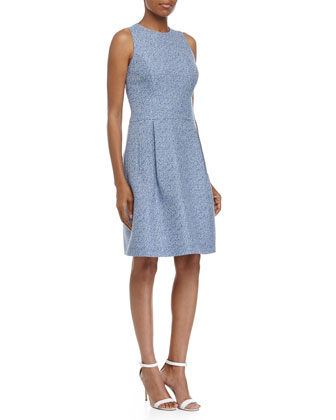 Sleeveless Bell-Skirt Dress, Chambray/White