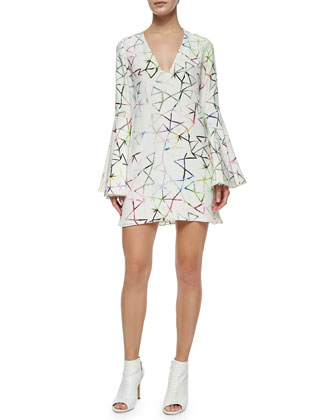 Bell-Sleeve Printed Shift Dress