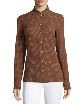 Mini Dot-Print Slim Shirt, Nutmeg/White