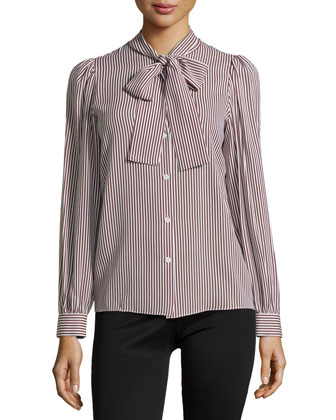 Stripe Tie-Neck Blouse, Nutmeg/White