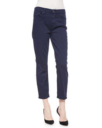 Sateen Cropped Skinny Jeans, Navy