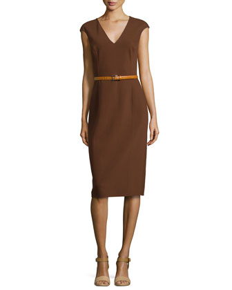 Cap-Sleeve Belted Sheath Dress, Nutmeg