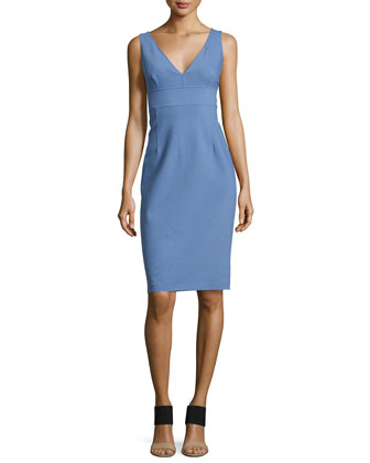 Sleeveless Sheath Dress, Chambray