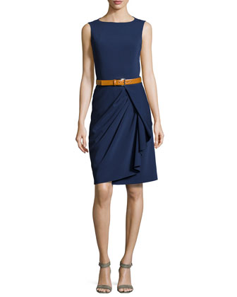 Sleeveless Belted Sheath Dress, Indigo