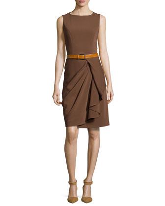 Sleeveless Belted Sheath Dress, Nutmeg