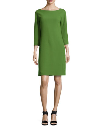 Three-Quarter-Sleeve Shift Dress, Grass