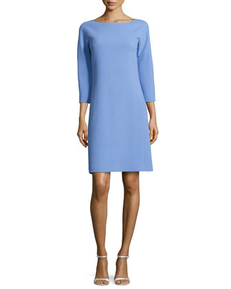 Three-Quarter-Sleeve Shift Dress, Oxford