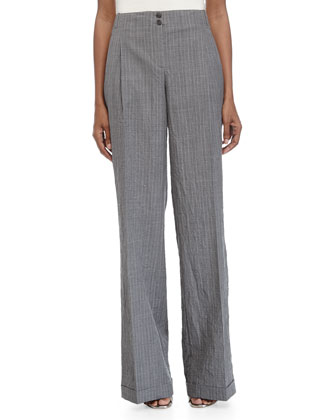 Cuffed Wide-Leg Pants, Banker/White