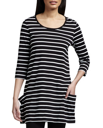 Striped Knit Tunic & Jersey Ankle Leggings, Women's