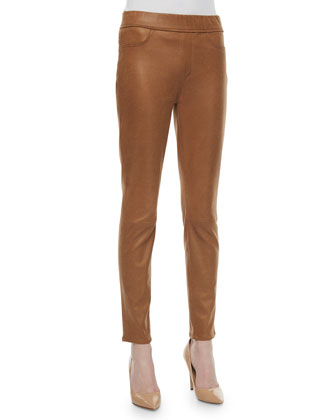 Leather-Like Pull-On Leggings, Cognac
