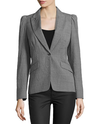 Puff-Shoulder One-Button Stripe Jacket, Banker/White