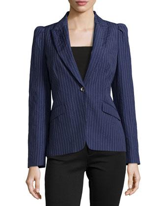 Puff-Shoulder One-Button Stripe Jacket, Indigo/White