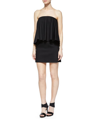 Tabitha Strapless Draped-Overlay Dress, Black