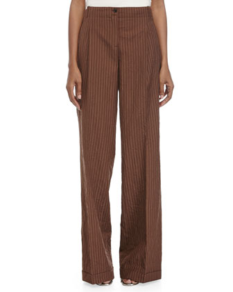 Cuffed Wide-Leg Pants, Nutmeg/White