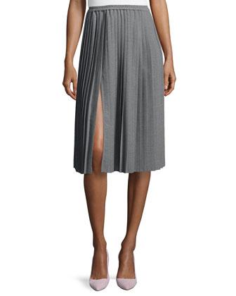 Allover Pleated Midi Skirt, Banker Melange