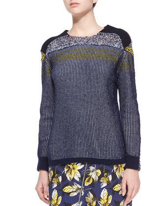 Mixed-Stitch Long-Sleeve Knit Sweater