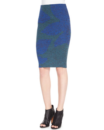 Mouline-Knit Leaf Pencil Skirt